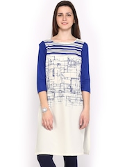 W Women White & Blue Printed Kurta