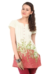 W Women Cream & Pink Printed Kurti
