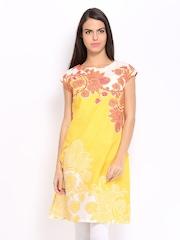 W Women Yellow Printed Kurta