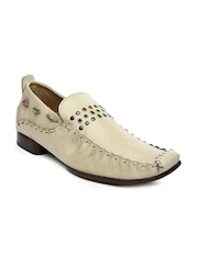 WHITE Men Beige Leather Casual Shoes