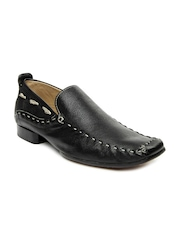 WHITE Men Black Leather Casual Shoes