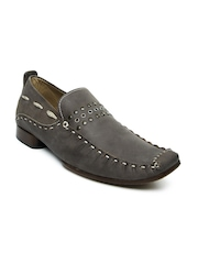 Men Grey Leather Casual Shoes White
