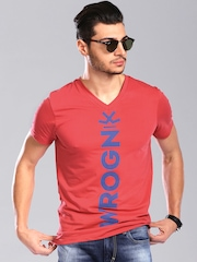 WROGN Men Coral Red Limited Edition by Virat Kohli T-shirt