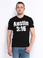 WWE Men Black Printed T-shirt