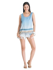 Wendell Rodricks for Stylista Women Blue Summer Loving Tank Top