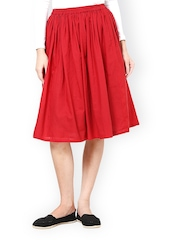 Westhreads Red Flared Skirt