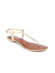 Wet Blue Women Dull Gold Toned Sandals