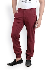 White Kalia Men Wine Coloured Relaxed Fit Chino Trousers