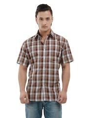 Wills Lifestyle Men Aron Sport Brown & White Checked Shirt