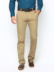 Wills Lifestyle Men Beige Slim Fit Casual Trousers