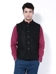 Wills Lifestyle Men Black Slim Fit Nehru Jacket