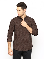 Wills Lifestyle Men Brown & Black Printed Slim Fit Casual Shirt