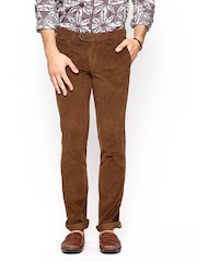 Wills Lifestyle Men Brown Skinny Fit Corduroy Trousers