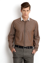 Wills Lifestyle Men Brown Slim Fit Smart-Casual Shirt