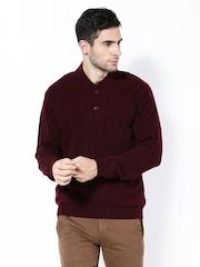 Wills Lifestyle Men Burgundy Lambswool Sweater