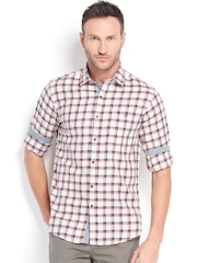 Wills Lifestyle Men Cream-Coloured & Red Checked Slim Fit Casual Shirt