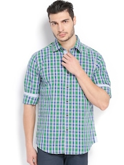 Wills Lifestyle Men Green & Blue Checked Slim Fit Casual Shirt