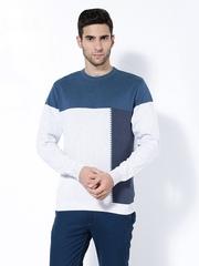 Wills Lifestyle Men Grey & Blue Sweater