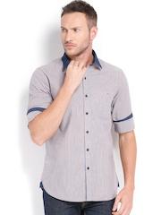 Wills Lifestyle Men Grey & Orange Striped Slim Fit Casual Shirt