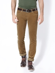 Wills Lifestyle Men Khaki Skinny Fit Corduroy Trousers