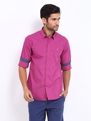 Wills Lifestyle Men Magenta Slim Fit Casual Shirt