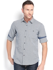 Wills Lifestyle Men Navy & White Checked Slim Fit Casual Shirt