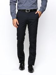 Wills Lifestyle Men Navy Skinny Fit Formal Trousers