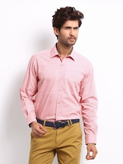 Wills Lifestyle Men Pink Classic Regular Fit Shirt