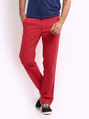 Wills Lifestyle Men Poppy Red Cale Sport Slim Fit Trousers