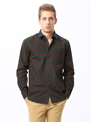 Wills Lifestyle Men Green & Maroon Printed Slim Fit Casual Shirt