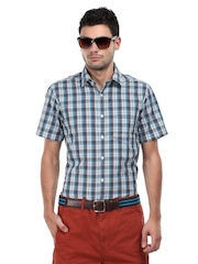 Wills Lifestyle Men Blue & Off-White Checked Deonte Slim Fit Casual Shirt