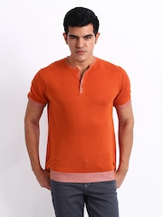 Wills Lifestyle Men Orange Linen Blend T-shirt
