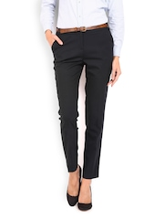 Women Navy Slim Fit Formal Trousers Wills Lifestyle