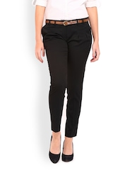 Women Black Slim Fit Formal Trousers Wills Lifestyle