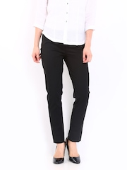 Women Black Super Slim Fit Semi-Formal Trousers Wills Lifestyle