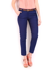 Women Blue Slim Fit Formal Trousers Wills Lifestyle