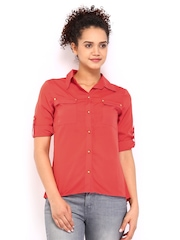 Wills Lifestyle Women Coral Red Shirt