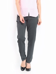 Women Dark Grey Slim Fit Semi-Formal Trousers Wills Lifestyle