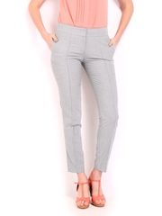 Women Grey Slim Fit Formal Trousers Wills Lifestyle