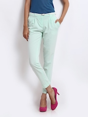 Wills Lifestyle Women Mint Green Slim Fit Smart-Casual Trousers