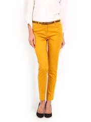 Women Mustard Yellow Slim Fit Formal Trousers Wills Lifestyle
