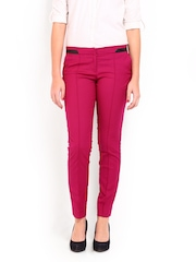 Women Pink Slim Fit Formal Trousers Wills Lifestyle