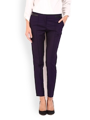 Women Purple Slim Fit Formal Trousers Wills Lifestyle
