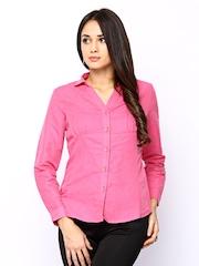 Wills Lifestyle Women Pink Linen Blend Shirt