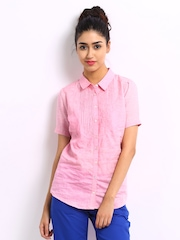 Wills Lifestyle Women Pink Linen Blend Shirt