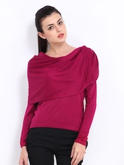 Wills Lifestyle Women Dark Pink Sweater