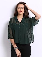 Wills Lifestyle Women Green Shirt