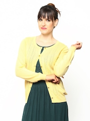 Wills Lifestyle Women Yellow Merino Wool Cardigan