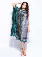 By Satya Paul Grey & Teal Blue Printed Shift Dress Wills Signature