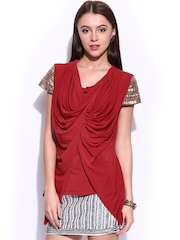 Wills Signature by Ranna Gill Women Red Sequinned Shoulder Drape Top
